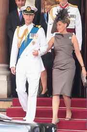 Sophie wore a shining brown cocktail dress to the Monaco Royal Wedding.