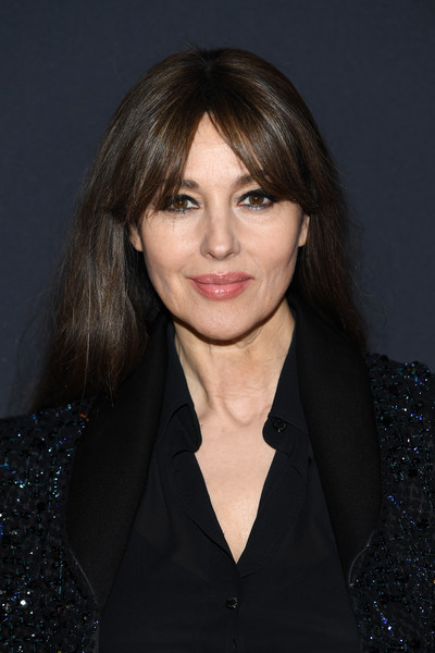 Monica Bellucci Long Straight Cut with Bangs [hair,face,hairstyle,eyebrow,chin,lip,beauty,bangs,layered hair,forehead,cesar - revelations,monica bellucci,at petit palais in paris,paris,france,le petit palais,carrie-anne moss,memorial diamond,the matrix,engineering,company,education,diamond,january 14]