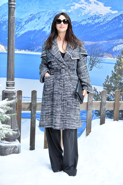 Monica Bellucci Tweed Coat [show,clothing,coat,overcoat,outerwear,winter,trench coat,fashion,snow,footwear,street fashion,monica bellucci,part,paris,france,chanel,photocall- paris fashion week womenswear fall]