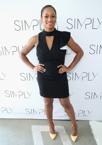 Monique Coleman Cutout Dress [los angeles fashion beauty conference,dress,clothing,cocktail dress,black,little black dress,shoulder,fashion,beauty,hairstyle,footwear,monique coleman,nylon,the grove,los angeles,california]