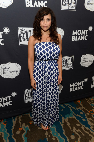Rosie Perez attended Montblanc's 24 Hour Plays looking breezy in a strapless print maxi dress.