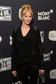 Melanie Griffith looked as foxy as ever in a black leather-panel motorcycle jacket during Montblanc's 24 Hour Plays.
