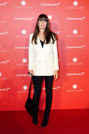 Charlotte Casiraghi went super casual on the bottom half in black skinny jeans.