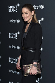 Olivia Palermo accessorized with a stylish leather-band quartz watch at the Montblanc & UNICEF Gala.