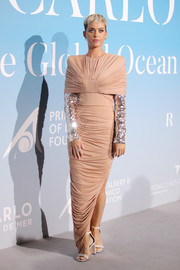 Katy Perry looked ultra sophisticated in a ruched nude Tom Ford gown with a layered bodice and sequined sleeves at the Gala for the Global Ocean.