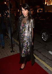 Caroline Sieber arrived for the 'Monuments' private view looking futuristic in a silver leather coat.
