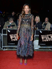 Naomie Harris was a vision in an intricately embroidered Valentino dress at the BFI London Film Festival screening of 'Moonlight.'