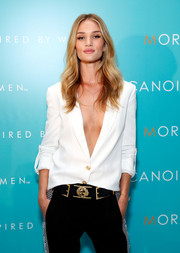 Rosie Huntington-Whiteley styled her menswear-inspired outfit with an embellished black Anthony Vaccarello x Versus Versace belt for the Moroccanoil Inspired by Women campaign launch.