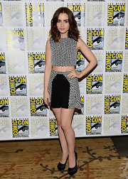 Lily Collins nailed the crop top trend with this black-and-white basket weave-print top and matching skirt.