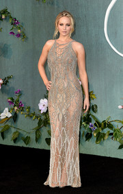 Jennifer Lawrence dropped jaws in a see-through gray mesh gown by Atelier Versace at the UK premiere of 'Mother!'