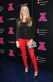 Emily Head sported bright red pants and a simple black top at the 'Much Ado About Nothing' screening in London.