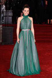 Daisy Ridley looked sublime in a custom Vivienne Westwood halter gown, in sheer green with a gray underlay, at the world premiere of 'Murder on the Orient Express.'