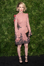 Sarah Paulson charmed in a Yanina Couture lace dress, in antique rose interspersed with grays and reds, at the Museum of Modern Art's film benefit.