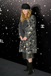 Drew Barrymore bundled up in a chic leaf-print coat by Chanel for the MoMA Tribute to Martin Scorsese.
