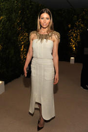 Jessica Biel looked fiercely stylish at the MoMA film benefit in a white Chanel dress with a chain-embellished neckline.