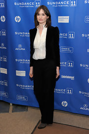 Emily dons a velvet blazer over a creamy blouse for the Sundance Film Festival.