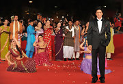 Shahrukh looked dapper in his black tuxedo and white tie.