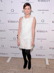 Nora Zehetner was chic in white at the 'My Week With Marilyn.' She topped off her look with black ankle boots.