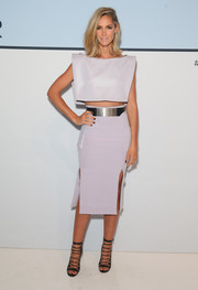 Nikki Phillips paired her top with a matching double-slit pencil skirt.