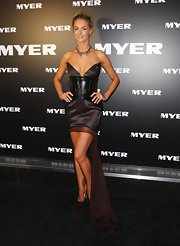 Jennifer Hawkins wore this unique number to the Myer collection launch in Australia.