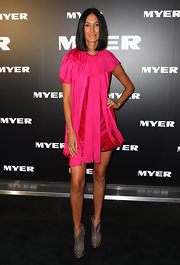 Lindy Klim made a statement in this hot pink and red dress at the Myer collection launch.