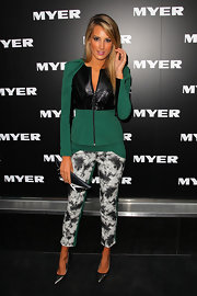Laura Dundovic's pantsuit at the Myer Autumn/Winter Collection launch featured iridescent paneling and printed pants that gave it a modern feel.