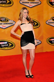 Colbie wore a fantastic black and nude corset dress for the NASCAR banquet.