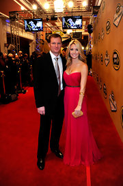 Amy Reimann turned heads at the NASCAR Sprint Cup banquet in this floor length gown - Dale Earnhardt Jr's lovely lady in red.