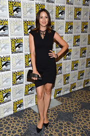 Bree Turner's sleek shift dress had a cool leather cut neck for an added contemporary touch.