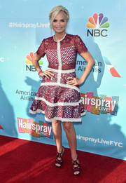 Kristin Chenoweth charmed in a mixed-pattern lace dress by Alexis at the 'Hairspray Live!' FYC event.