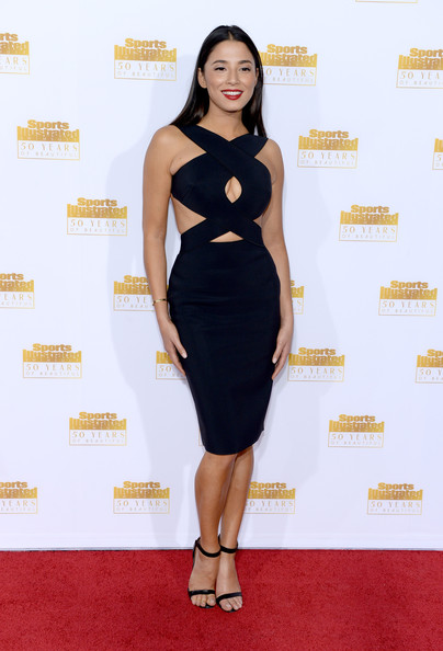 """Jessica Gomes made us go """"Ooh la la"""" with this super-sultry black cutout dress at the Sports Illustrated Swimsuit Issue 50th anniversary bash."""