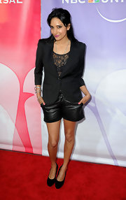 Rebecca paired her black blazer and lace top with leather shorts.