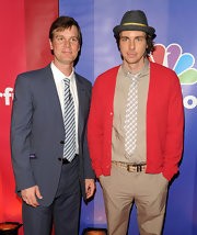 Dax Shepard brightened up his look at the NBC Upfront Presentation with a red cardigan.