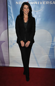 Lauren Graham's black silk clutch was the perfect understated complement to her menswear attire.
