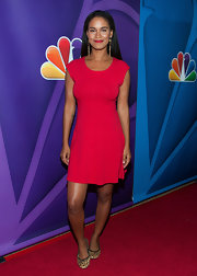 Joy went for a bold and bright red fit-and-flare dress for the '2013 Summer TCA Tour' hosted by NBC.