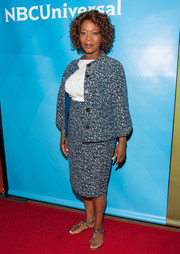 Alfre Woodard opted for a blue tweed skirt suit for her Summer TCA Tour red carpet look.