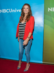 Kate Walsh kept it relaxed yet chic in a bright red blazer layered over a striped shirt during NBCUniversal's Summer TCA Tour.