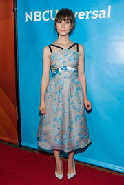 Cristin Milioti chose an adorable gingham and floral frock by Tanya Taylor for NBCUniversal's Summer TCA Tour.