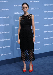 Abigail Spencer teamed her black dress with red patent pumps for a pop of color.