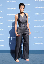 Jaimie Alexander opted for a menswear-inspired look with this pinstriped vest and pants combo at the NBCUniversal Upfront.