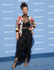 Alicia Keys tempered her sexy mesh top with an adorably chic floral bomber jacket for the NBCUniversal Upfront.
