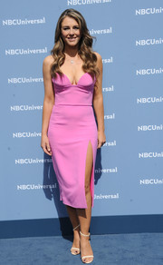 Ageless and gorgeous Elizabeth Hurley chose a strapless pink frock with a cleavage-baring neckline and a high side slit for the NBCUniversal Upfront.