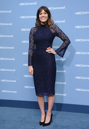 Mandy Moore kept it dainty in a long-sleeve nacy lace dress at the NBCUniversal Upfront.