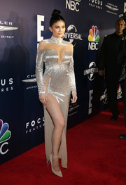 Kylie Jenner turned up the heat in a cleavage-and-leg-flaunting silver sequin gown by Labourjoisie at the NBCUniversal Golden Globes after-party.
