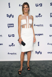 Tricia Helfer showed a fair amount of skin in a white sheer-panel dress during the NBCUniversal Cable Entertainment Upfronts.