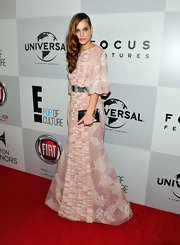 Barbara Palvin was the picture of old world elegance in a gorgeously crafted pink and cream gown.