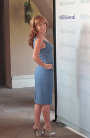 Kathy Griffin attended NBCUniversal Summer Press Day wearing a pair of dramatic metallic silver slingbacks.