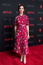 Alison Brie was vintage-chic in a floral shirtdress by Erdem at the Netflix FYSEE event for 'Glow.'
