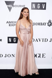 Natalie Portman stunned in a pleated pink gown by Dior at the NGV Gala 2018.