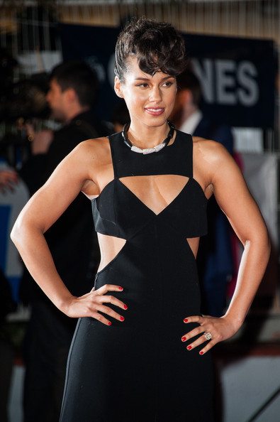 More Pics of Alicia Keys Short Cut With Bangs (1 of 33) - Alicia Keys Lookbook - StyleBistro [fashion model,clothing,fashion,beauty,hairstyle,dress,lip,carpet,little black dress,event,alicia keys,nrj music awards,cannes,france,red carpet arrivals,palais des festivals]